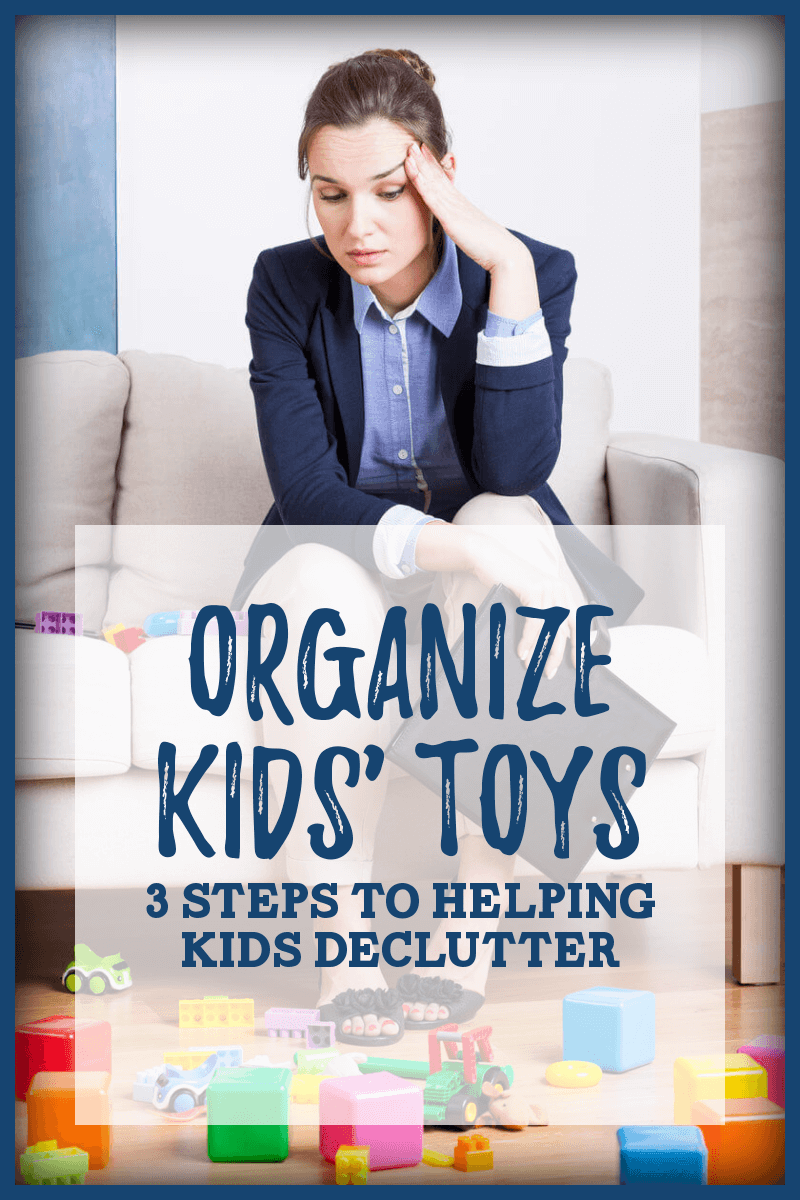 Organize kids' toys while teaching them how to declutter. Tame the toy chaos in your living room, bedrooms, or playroom with these easy to follow steps. Learn how you can teach kids to simplify and get organized without spending a penny on organizing systems! #organizetoys #declutter #simplify #minimalistkids #frugalorganization