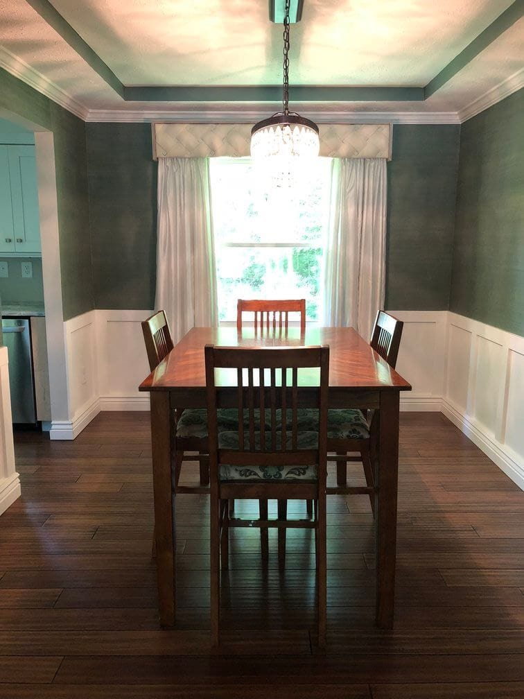 property to renovate remodeled grasscloth dining room