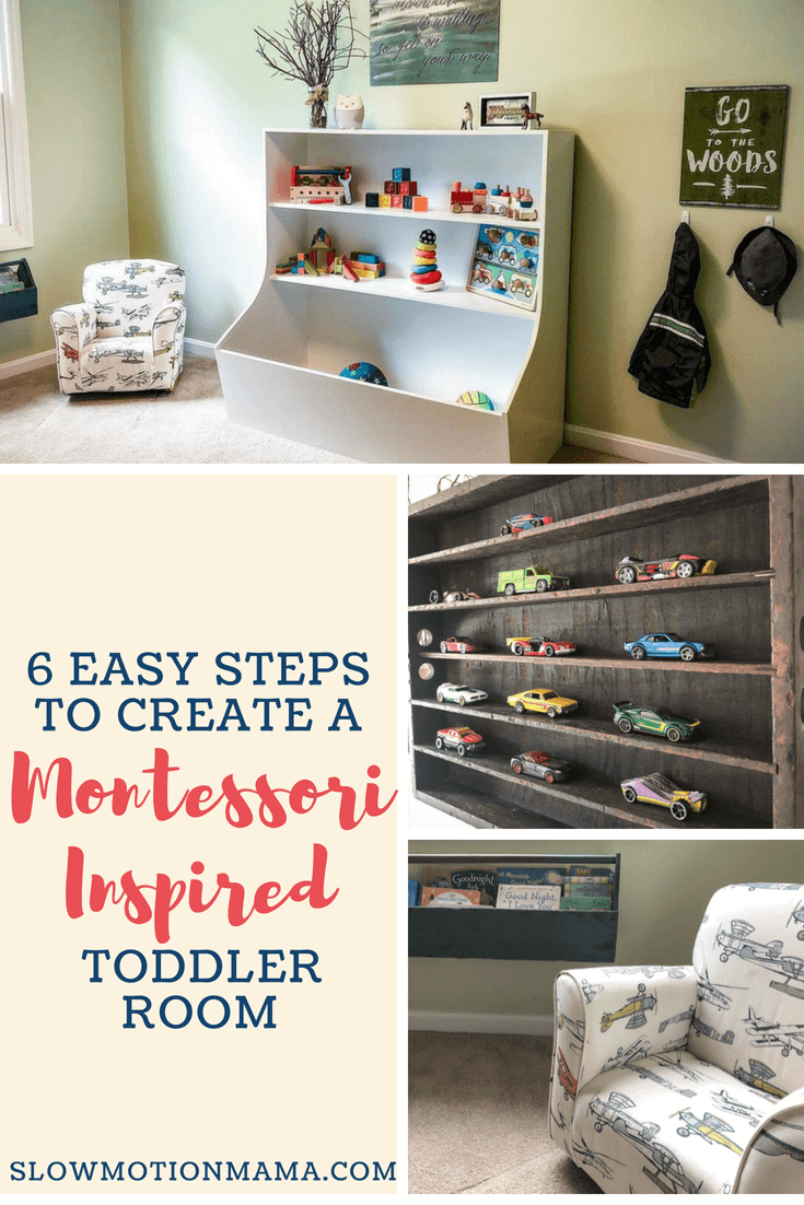 The Montessori approach isn't just reserved for the classroom anymore! Learn how to create a Montessori environment at home with these six easy to incorporate ideas. From reading areas to toy storage, discover how you can DIY your own Montessori toddler playroom or bedroom with these practical life tips. #montessori #toddlerroom #montessoritoddler #simplify #minimalistfamily #toddlerbedroom