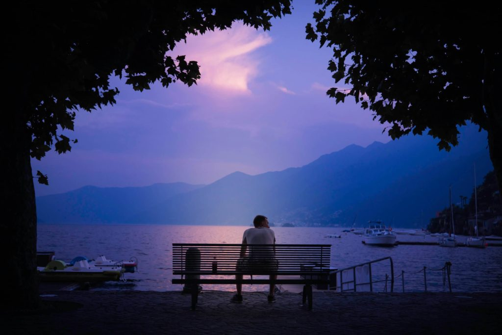 Man dreaming on a bench