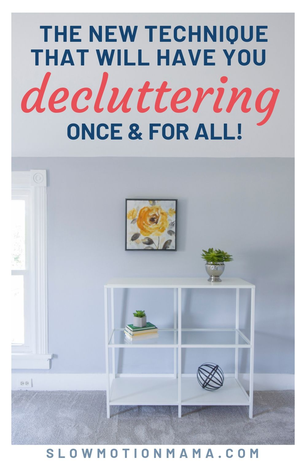 a decluttered room with clean shelving