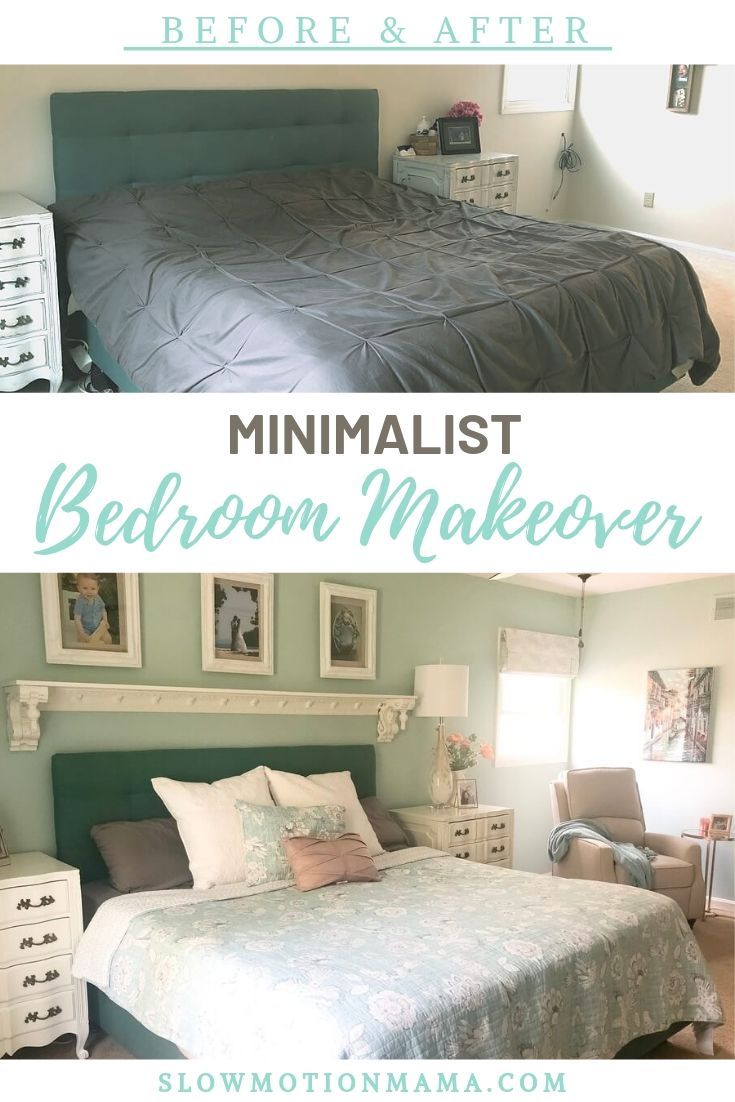 Check out the dramatic before and after photos of this minimalist room remodel. Gather ideas for cozy decor, as well as tips for how to DIY your own master bedroom. Lots of inspiration photos- I love the refinished white antique dressers and the simple, vintage touches! #simplify #beforeandafter #remodel