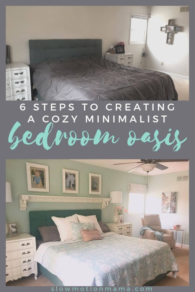 Follow these 6 steps to creating your own cozy minimalist bedroom! Learn the tricks to creating a room that is both minimalist and inviting. From what furniture to include and how to select paint colors, to using textures and learning how to incorporate wood & other natural elements into your space, these simple decor strategies will walk you through how to design a space you love. #design #minimalism #bedroomremodel