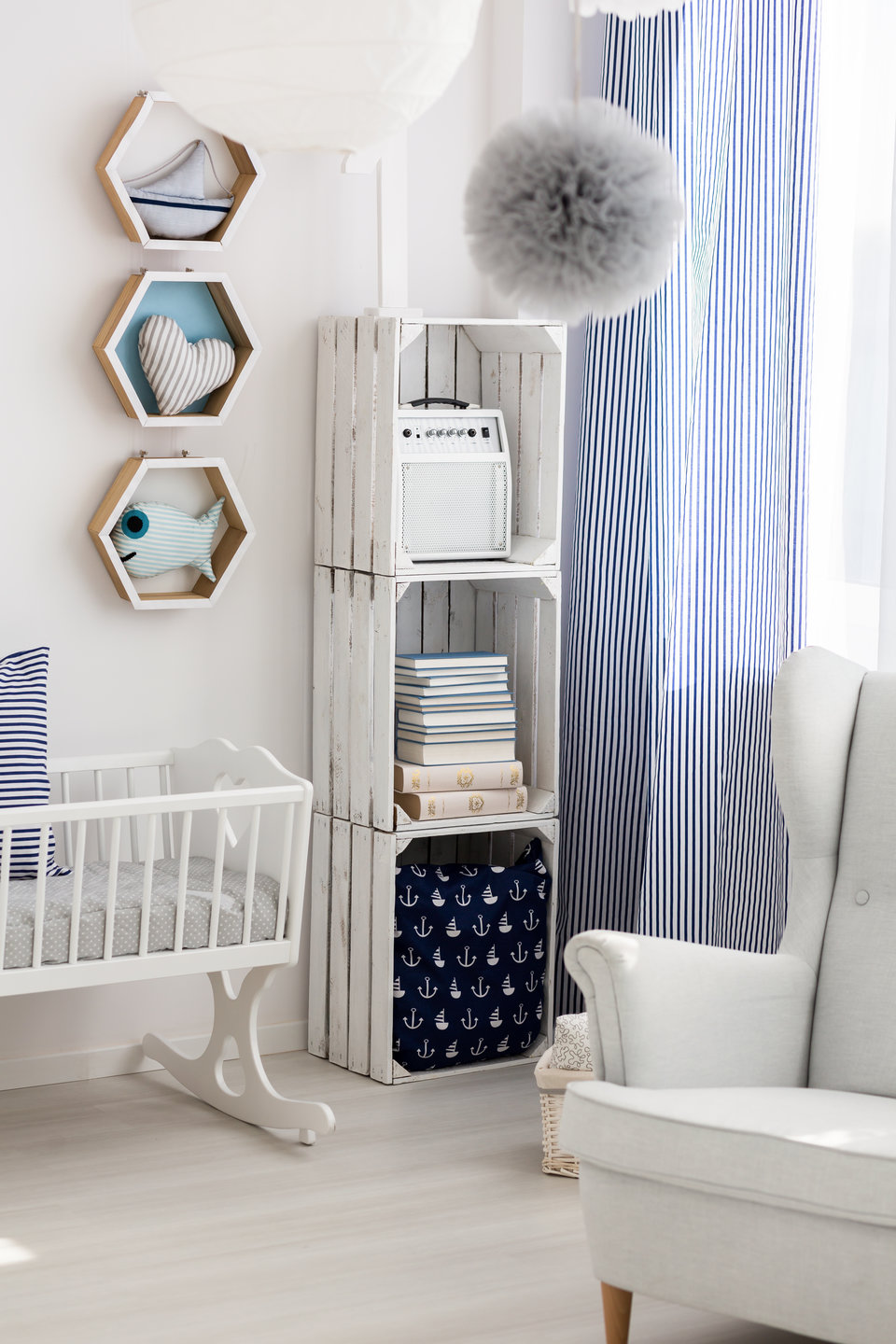 Retake your space Neutral nursery with cradle and chair