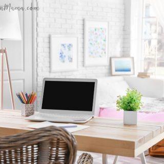 decluttered room with computer desk
