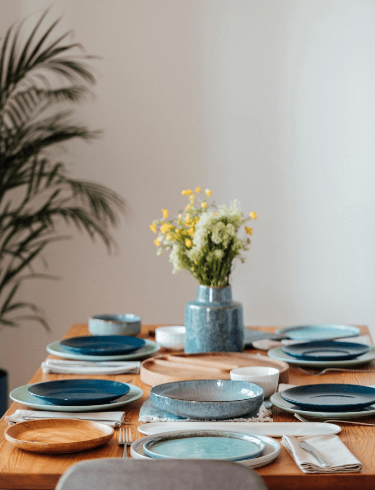 turquoise pottery on a dining room table